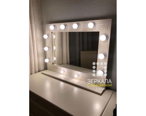 Гримерное зеркало с подсветкой и полкой 60х80 Бежевый